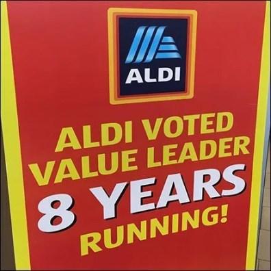 Aldi Voted Value Leader Store Entry Sign
