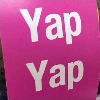 Blah-Blah Yap-Yap Merchandising Tagline Square1