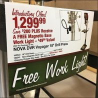 Free Work-Light Drill-Press Purchase Display