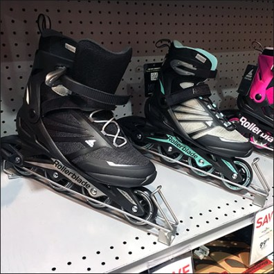 Inline Skates Declined-Shelf Display Endcap