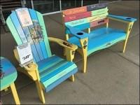 Margaritaville Adirondack Bench Rainbow Paint-job