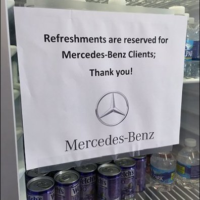 Mercedes Benz Beverage Center Branded Warning