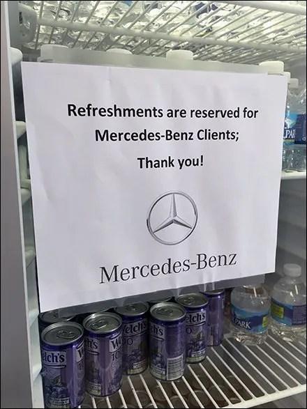 Mercedes Benz Beverage Center Branded Warning