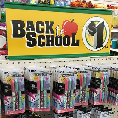 Back-To-School $1 Bargains Endcap