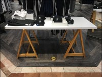 Natural-Wood Sawhorse Table-Stands