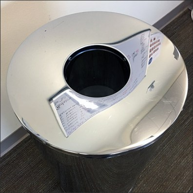 Polished Chrome Waste Receptacle Graces Retail
