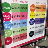 Color Coded Clearance Sign 2