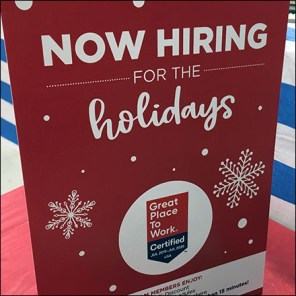 Hiring-for-the-Holidays Table-Top Sign