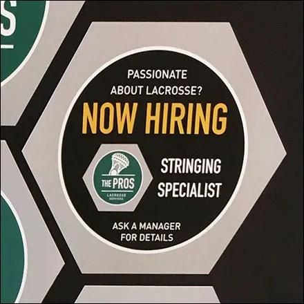 Now Hiring Lacrosse Stringing Specialist