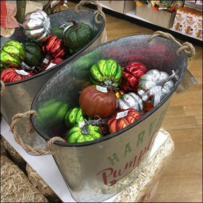 Harvest Pumpkin Galvanized-Bucket Prop Merchandising