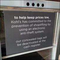 Kolh's Electronic Anti-Theft Warning Sign