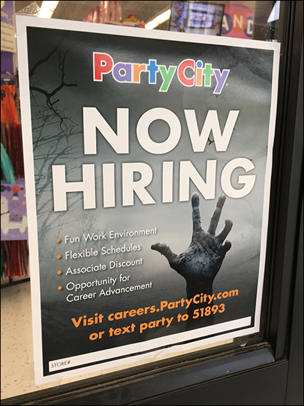 Party-City Halloween-Hiring Window Poster
