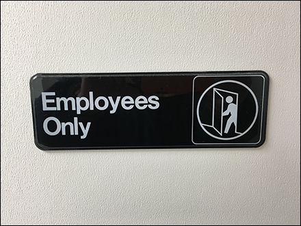 Employees Only Secret Room Notice