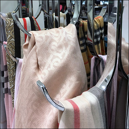 J-Hook Merchandising Fixtures, Burberry J-Hook Outfitting