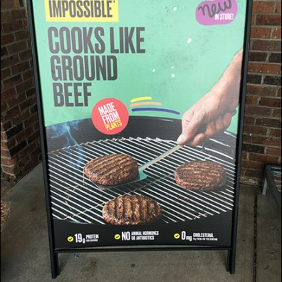 Impossible-Burger Sidewalk Sale Sign