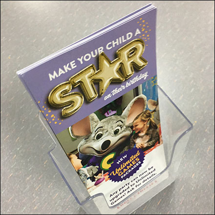 Chuck E Cheese Birthday Party Brochure Holder