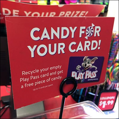 Chuck E Cheese Pass-Card Candy Trade-In