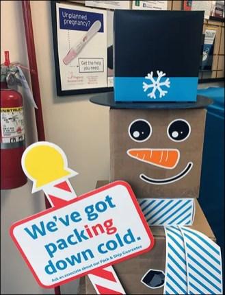 UPS Shipping Box Snowman Has Packing Down Cold Main2