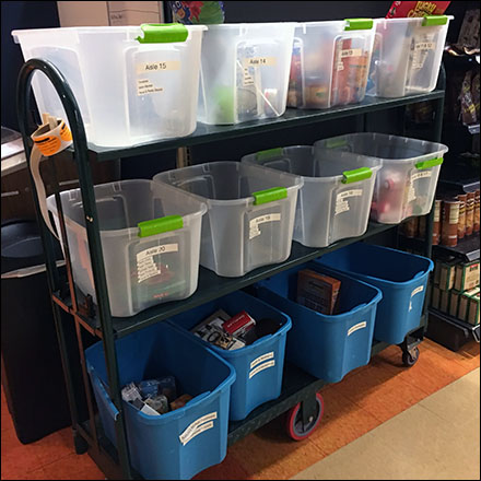 Tote Storage Bin Merchandising - Returns Sorting Totes Cart System Concept