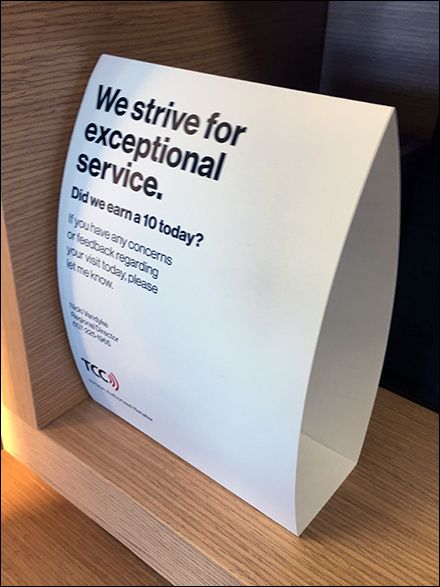 Strive for Exceptional Service Tent Sign