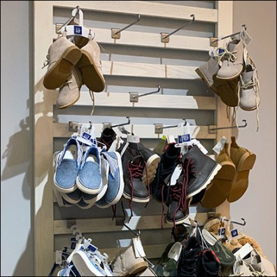 Custom-Slatted Slatwall Shoe Display