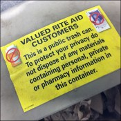 Restroom Trash Can Confidentiality Warning
