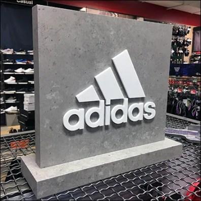 Freestanding Adidas-Branded Stone-Slab Logo