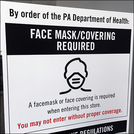 CoronoVirus Face Mask Required For Entry