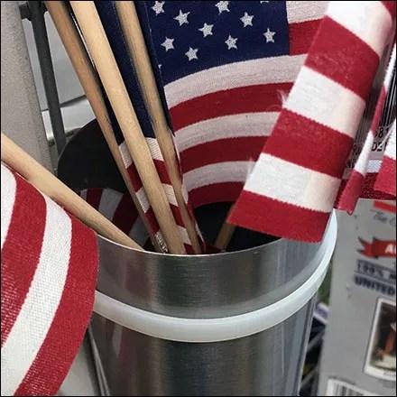 Patriotic Flag Zip-Tie Quiver on Gridwall