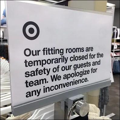 CoronaVirus Closes Fitting Rooms Notice