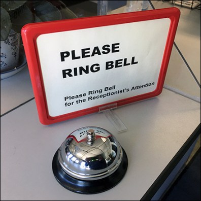 Ring Bell For Receptionist Attention Sign