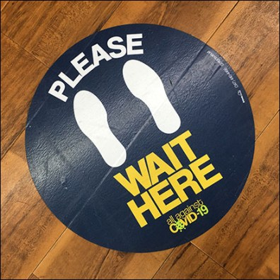 CoronaVirus Please-Wait-Here Cashwrap Floor Graphic
