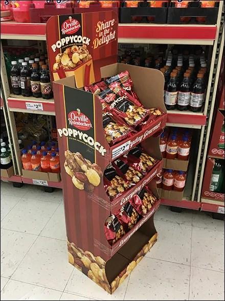 Playful Poppycock Popcorn Corrugated Display