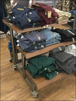 Trestle-Table Work-Shirt Tiered Display