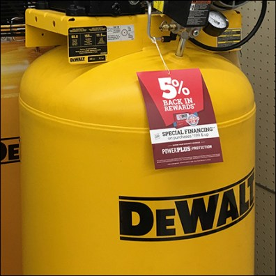 DeWalt Branded Air Compressor Display
