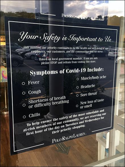 Ralph Lauren CoronaVirus Symptoms Checklist Poster