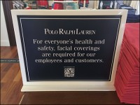 Ralph Lauren CoronaVirus Counter-Top Face-Mask Notice