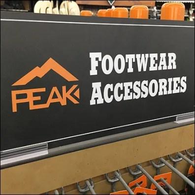 Peak Footwear Accessories Slatwall Endcap