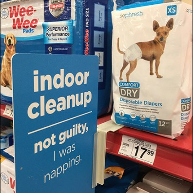 Indoor-Doggy-Cleanup Shelf-Edge Pet Promotion Aux