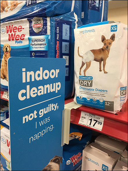 Indoor-Doggy-Cleanup Shelf-Edge Pet Promotion Aux