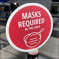 CoronaVirus Wait-Queue Stanchion Masks-Required Flags