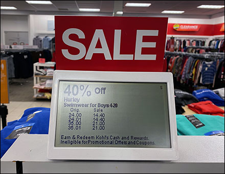 Kohl's Sloped Digital Price Ticket