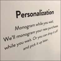 Nordstrom Alterations and Personalization Sign