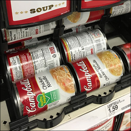 Universal Gravity-Feed Soup Merchandising