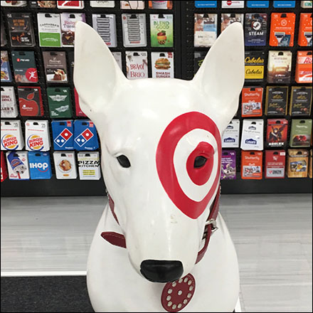 Bullseye Gift-Card Guard-Dog Display