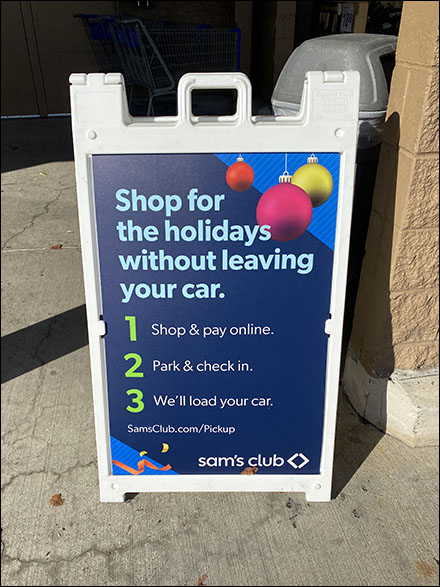 Sams Club Christmas Holiday Shopping Without Leaving Your Car Sidewalk Sign