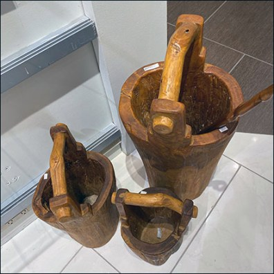 Hand-Carved Wood-Pail Entry Staging