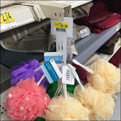 Bath-Pouf Shelf-Edge Strip Merchandiser