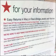 Macy's Watch-and-Jewelry Return Policy