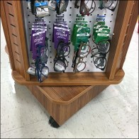Eyewear Wood Spinner Display in Grocery